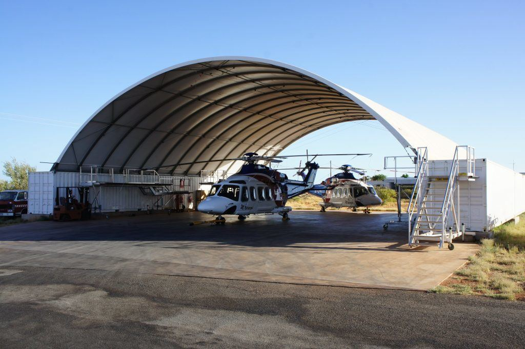 container shed for helicopter - DomeShelter Australia