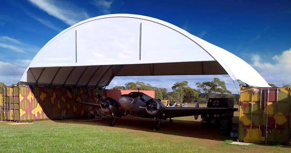 Plane under container mounted DomeShelter